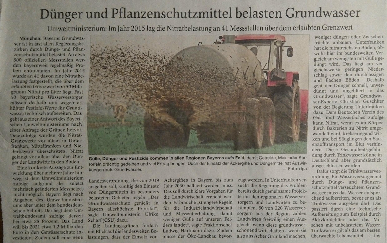 Grundwasserbelastung in Bayern durch Düngung